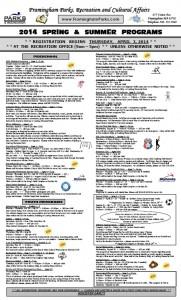 2014 Framingham Park and Rec programs