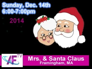 Santa and Mrs. Claus on Access Framingham TV December 14, 2014