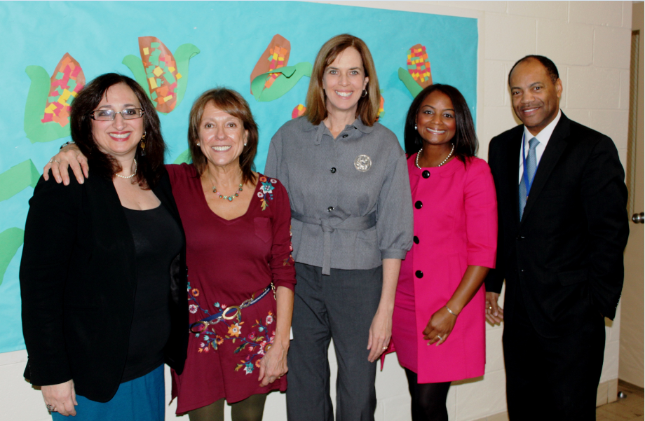 School Committee Chair Beverly Hugo, Assistant Principal Liz Simon, Congresswoman Katherine Clark (MA-5), Director of Family and Community Engagement Magaly Sanchez, and Superintendent Stacy Scott.