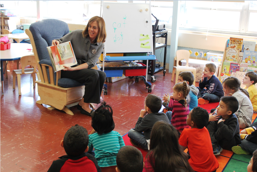 Congresswoman Katherine Clark reads to eager Kindergartners at the King Elementary School in Framingham.