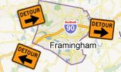Framingham Roadwork, Traffic Detours (icon)