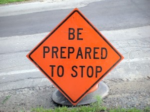 Framingham Traffic Alerts, Detours, Delays, sign: Be Prepared to Stop