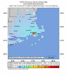 USCS / NEIC Earthquake Map, Buzzards Baay, November 8, 2020.Map