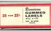 Dennison Mfg. Gummed Label box